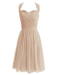 Diyouth Short Halter Bridesmaid Dresses Sweetheart Formal Party Gowns Backless Champagne Size 2