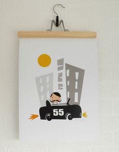 Ville de garçons voiture noir pépinière jaune gris impression A3 Poster Art
