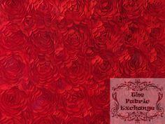Red Satin Petal Rosette www.thefabricexchange.com