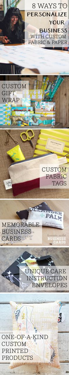 8 Ways to Personalize Your Business with Custom Fabric and Paper - There are so many ways to personalize your business and make your customers remember you!  This post covers everything from custom gift wrap and custom fabric tags to memorable business cards and unique care envelopes.  You can create one-of-a-kind custom printed products using Spoonflower to make your business stand out in the crowd. #business #freelance #smallbusinesstips