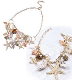 New Hot Chunky Sea Shell Starfish Faux Pearl Gold Statement Necklace / Bracelet Jewelry Set(WP-F257) wiipujewelry,http://www.amazon.com/dp/B00AX3UM98/ref=cm_sw_r_pi_dp_ZQ1Qrb367AA547A4