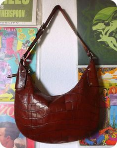 DISSER Leder Luxus Tasche City Bag Schultertasche Umhängetasche Braun Kroko in Kleidung & Accessoires, Damentaschen | eBay