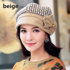 Winter bowknot wool hat for girls sweet style