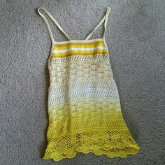 """NEW!  Free People Yellow Ombre Crochet Tunic Tank NEW ARRIVAL FROM MY PERSONAL COLLECTION! Free People Yellow and white ombre crochet tank, size small.  Super cute and comfy! Just never had a chance to wear it when I bought it last summer.  Presumed gently worn but great condition overall. 100% cotton but has some stretch to it. Armpit to bottom is ~18"""". Make an offer! Free People Tops Tank Tops"""