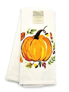 "Primitive Set of 3`Dish Towels` Pumpkins /& Sunflowers Fall Autumn`27/"" L x 17/"" W"