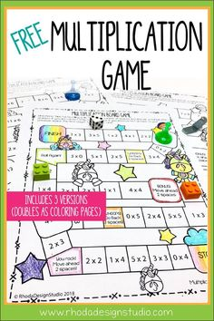 Get a free multiplication game that your child or students can color and play with to practice their facts. Multiplication strategies and ideas for practicing math without timed tests.Multiplication & Division for Kids Free Math Games, Math Activities, Printable Math Games, Printable Multiplication Worksheets, Free Worksheets, Math Multiplication Games, Math Fractions, Multiplication And Division, Math Intervention