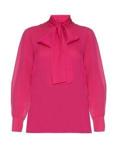Gucci Tie-neck silk-georgette blouse