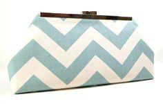 Love @ first sight!   - Clutch Purse Sea Foam and Natural Chevron l CreationsByAngel #handbag #fashion #accessories
