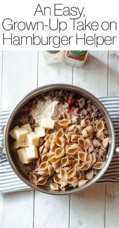 Need a new recipe for dinner or lunch? Click for this grown-up take on Hamburger Helper (made with ground beef, whole wheat pasta, cheddar cheese, and more).