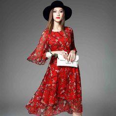 2016 Spring New Fashion Half Sleeve A Line High end O Neck Silk print Fairy Dress