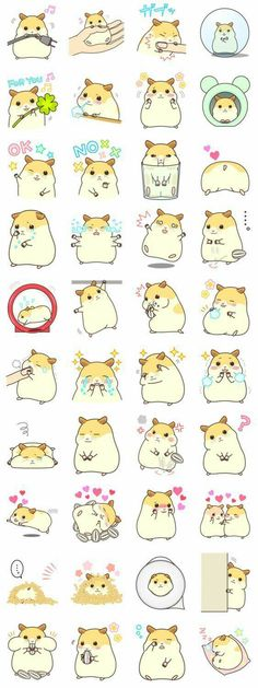 My Lovely Hamster Stickers - These hamster stickers look just like a chinchilla and some of the behaviors match too haha. Especially the wire chomping and sleeping standing up.