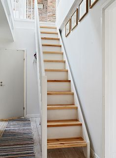 stairs, wood, clean, modern. Narrow and steep--like Tony and Cecilia's? Take up less room