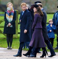 The Duke & Duchess of Cambridge and other members of the royal family attend the Sunday service at St Mary Magdalene Church, Sandringham on December 27, 2015.