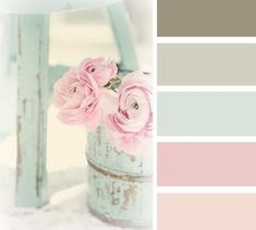 Shabby chic colour schemes are normally pastel shades contrasting with simple rustic colours such as mocha brown. I really like this color pallete #shabbychicbathroomscolors
