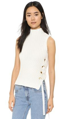 5864e9c95229fe Derek Lam 10 Crosby Chunky Ribbed Sweater with Grommets. Eyelet Top · High  Neck ...