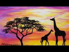 Giraffe Silhouette Sunset Acrylic Painting Tutorial for Beginners Step b...