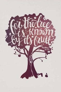 For the tree is known by its fruit -Matthew 12:33