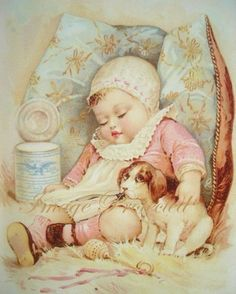 Baby Girl Sleeping with Dog Vintage Shabby and Chic Print Childrens Picture via Etsy