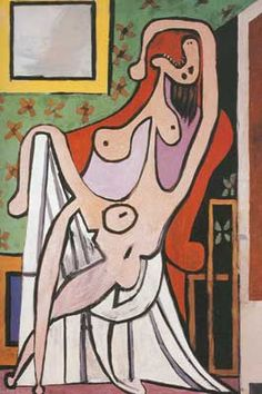"""""""Large Nude in Red Armchair"""".Artist: Pablo Picasso Completion Date: 1929 Style: Surrealism Period: Neoclassicist & Surrealist Period Genre: nude painting (nu). Pablo Picasso, Kunst Picasso, Art Picasso, Picasso Paintings, Picasso Portraits, Red Armchair, Dora Maar, Cubist Movement, Georges Braque"""