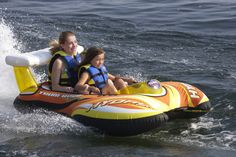 Inflatable 2 Rider Towable Raft Boat Ride Tubing River Lake Summer Fun Water Toy
