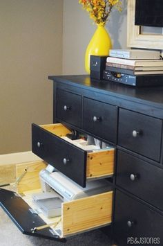 Dresser turned hideaway storage