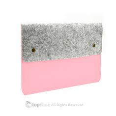 """Felt Environmental Light Pink Sleeve Bag / Carrying Case with Button Closure for Apple Macbook White / Pro / Air 13"""" and Ultrabook"""