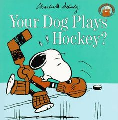 Your Dog Plays Hockey? (Peanuts Gang) by Charles M. Schulz ... hockey and skating on black ice as metaphor for uncommon sport for black and playing on a field you cant see (unfamiliar with). hockey sticks (gun)