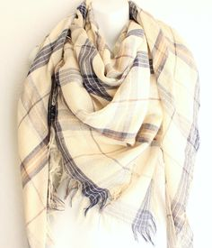 This Plaid scarf is everything but ordinary. With Butter cream beige color and Handkerchief style plaid design, Raw fringe edges. This fashionable light weight scarf will be your best fall accessory this Fall and winter.  WAYS TO WEAR IT:  -Wear this scarf as a chunky infinity (By tying the e...
