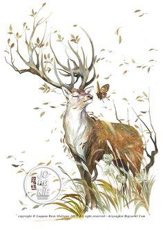 "Original painting by Luqman Reza Mulyono (Jongkie) entitled ""Beautiful Mind"" Animal Paintings, Animal Drawings, Art Drawings, Marker Kunst, Creation Art, Deer Art, Wildlife Art, Pretty Art, Fantasy Creatures"
