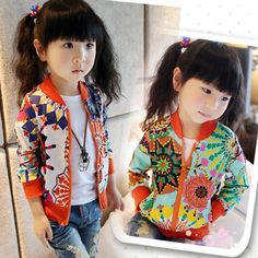 2014 Fashion Spring Baby Girls Sunflower Print Casual Jackets Coat Trendy Kids Zipper Thin Cardigan  Tops Female Child Outerwear US $9.99