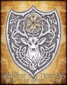 ✿ Tattoos ✿ Celtic ✿ Norse ✿ Knotwork Stag Spirit n Vegvisir by Ash-Harrison
