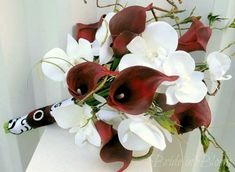 Wedding Bouquet real touch red calla lily white orchid Bridal bouquet silk bridal flowers damask