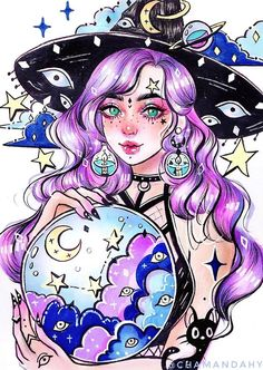 Anime Drawings Sketches, Illustration Sketches, Art Drawings, Anime Lobo, Witch Drawing, Witch Art, Color Pencil Art, Anime Eyes, Pretty Art