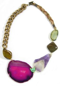 Pink agate, amethyst and Tigers Eye