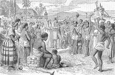 Afschaffing van de slavernij aangekondigd op een plantage
