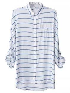Blue White Stripe Keyhole Back Pocket Blouse -SheIn(abaday)