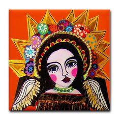 Mexican Folk Art Ceramic Tile Orange Angel door HeatherGallerArt