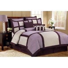 12pc Palermo Purple/ Lavender / Ivory Bedding Set Size: King Sheet Set Color: White