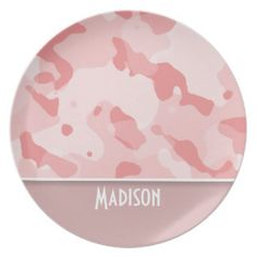 Baby Pink Camo; Personalized Dinner Plates