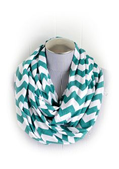 Teal Chevron Infinity Scarf, Teal and White Chevron Breastfeeding or Nursing Fashion Jersey Loop Scarf