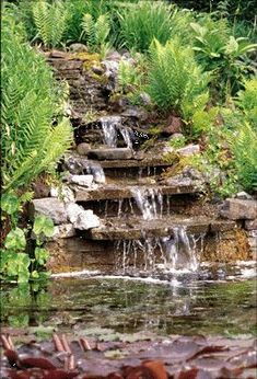 My first attempt at a garden pond/waterfall. Backyard Water Feature, Ponds Backyard, Backyard Landscaping, Garden Ponds, Sloping Backyard, Rocks Garden, Rock Waterfall, Garden Waterfall, Waterfall Taps