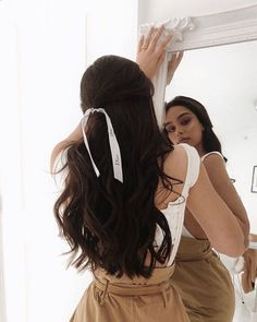 Hair Ribbons Are Underrated - What Kumquat cute hairstyles Pretty Hairstyles, Easy Hairstyles, Long Dark Hairstyles, Dancer Hairstyles, Hair Day, My Hair, Hair Inspo, Hair Inspiration, Coiffure Hair