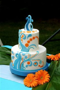 Ocean Wedding Cake. Maybe another shade of blue instead of the orange :-/