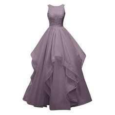 Dresstells Long Prom Dress Asymmetric Bridesmaid Dress Beaded Organza ❤ liked on Polyvore featuring dresses, beaded cocktail dress, purple dress, purple prom dresses, bridesmaid dresses and long purple dress
