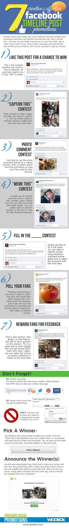 Facebook Promotions Ideas Infographic. Open a #Facebook page for the opening day of the Student Union and post statuses using these effective methods. #socialmedia