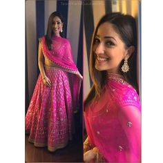 Create a smoldering impression on everyone with this hot pink yami gautam bollywood lehenga choli indian dresses. The attractive designs of embroidery enhanced with thread work, zari work along with patch border work enchants beauty Dress Indian Style, Indian Fashion Dresses, Indian Designer Outfits, India Fashion, Indian Skirt, Indian Lehenga, Silk Lehenga, Bridal Lehenga, Anarkali Lehenga