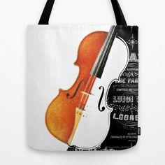 Violin Tote Bag  Gift Music Lover  13x13 16x16 18x18  by Narais