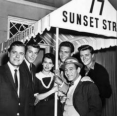 We took an immediate liking fall of 1958 to the new hit Warner Brothers TV show 77 Sunset Strip - staring L-R Richard Long, Efrem Zimbalist Jr., Jacqueline Beer, Roger Smith, Edd Byrnes and Louis Quinn Richard Long, The Lone Ranger, Sunset Strip, Cinema, Old Tv Shows, Vintage Tv, Thing 1, Classic Tv, Movies