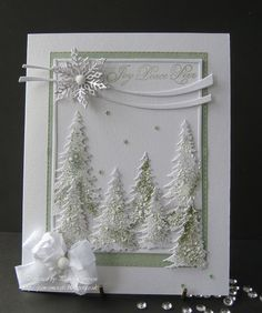 "pamscrafts: Joy.. Peace.. Love.. used Memory box. Cascade Evergreen Frame with Evergreen Trio die. The trees have a mix off ""Stampendous"" on them.. Chunky White embossing Enamel.. Stardust Transparent.. stash embossing green powder. All sprinkled on these Trees and heated from underneath with a heat tool.. used versemark clear ink and Stardust Transparent powder, give a gentle sparkle."