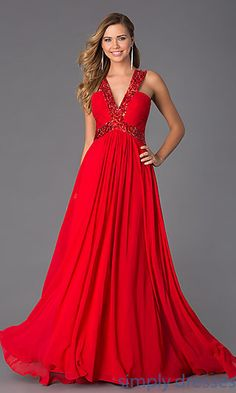 Floor Length V-Neck Sleeveless Dress by Bari Jay at SimplyDresses.com